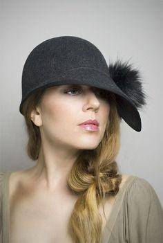 Cloche Cap Hat Faux Fur Pom Pom by MaggieMowbrayHats #millinery #judithm #hats: