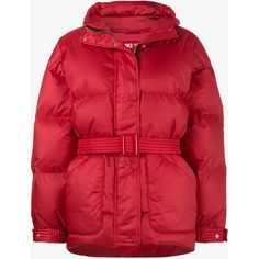 Ienki Ienki Red Michelin Belted Puffer Jacket ($1,490) ❤ liked on Polyvore featuring outerwear, jackets, belted jacket, puffer jacket, belted puffer jacket, red puffer jacket and puffy jacket