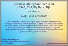 New Job: Business Intelligence (BI) Tech Lead - SSAS, SSIS, Big Data, SQL needed in Manchester. Contact Leon to find out more or apply online today!