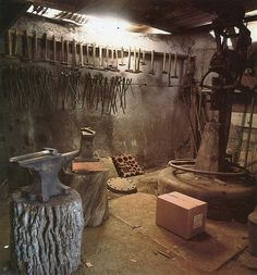 Blacksmith shop. Power hammer. Anvil.forged