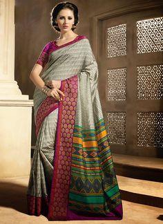 Urbane Grey Bhagalpuri Silk Sarees