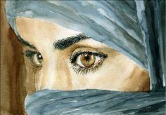 Acuarela, Ojos de Mujer. 29x19 cm.