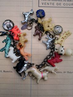 Paula Montgomery – Vintage Dogs Charm Bracelet with Green Metal Dog