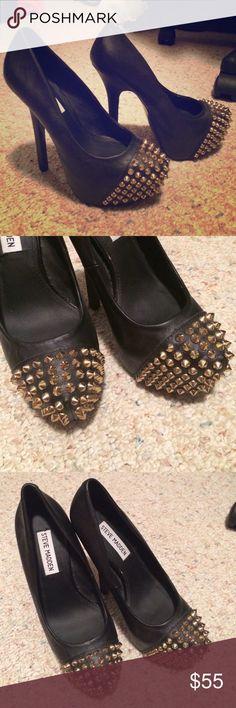 Steve Madden leather studded heels Leather studded heels. Worn once. All posts open to offers, trades, custom/bundled deals, M, Ven. Steve Madden Shoes Heels