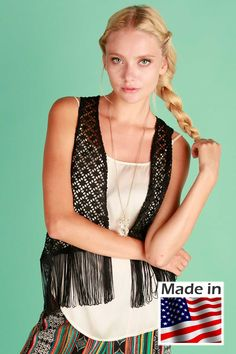 Sleeveless lace open vest with fringe bottom100 Polyester