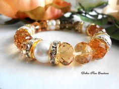 Swarovski Pearl Topaz Amber Crystal Bracelet,Amber Bridal Jewelry,Amber Bridesmaid Bracelet,Mother of Bride/Groom,Amber Bridesmaid Jewelry