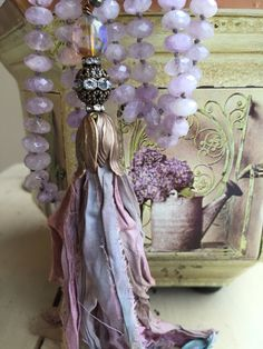 Bohemian glam CARNIVAL inspired purple faceted gemstone spiritual stone hand knotted sari silk tassel long necklace by MarleeLovesRoxy Ribbon Jewelry, Tassel Jewelry, Fabric Jewelry, Jewelry Crafts, Beaded Jewelry, Handmade Jewelry, Beaded Necklace, Necklaces, Color Lavanda
