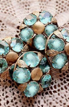Vintage gold and aquamarine buttons