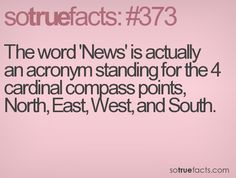 The word 'News' is actually an acronym standing for the 4 cardinal compass points, North, East, West, and South.