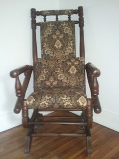 I Have This Beautiful Antique Wooden Rocking Chair With Actual Springs Wheels On The Front