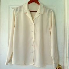 Vintage Cream Button-Up Loose-Fitting. Fits Medium to Large. Tops Button Down Shirts