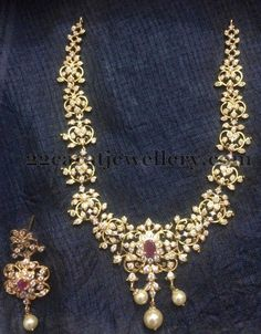 Jewellery Designs: Goldplated CZ Necklace 3800 Only