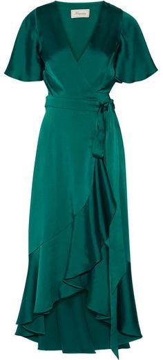 Temperley London - Open-back Duchesse-satin Wrap Dress - Emerald