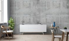 Concrete Grey Wallpaper To Measure Wall Art Large Wall | Etsy Art Deco Wallpaper, Grey Wallpaper, Custom Wallpaper, Multipurpose Room, Large Wall Art, Concrete, Wall Decor, Dream Studio, Living Room
