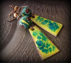 RESERVED FOR ANNE-Artisan Copper Enamel, African Krobo, Picture Jasper, Copper Beaded Earrings