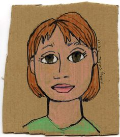 Drawing portraits on old pieces of cardboard. Art Projects for Kids
