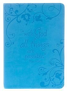 Mathew 10:26, With God all things are possible, light blue cover