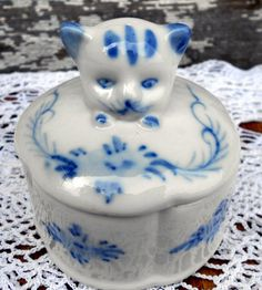 Vintage Blue and white pottery Cat head Trinket box