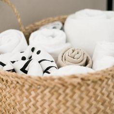 Basket of swaddles, baby blankets, muslin blankets | @JESSICASCREETON on Instagram
