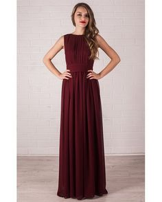 Floor Length Evening Dress Marsala. Chiffon Dress by Dioriss