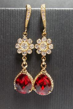 GOLD Earrings  Red  Flower  teardrop  Classy  by QueenMeJewelryLLC, $32.99
