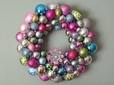 I have always wanted to figure out how to make these kinds of ornament wreaths because they are so pretty.