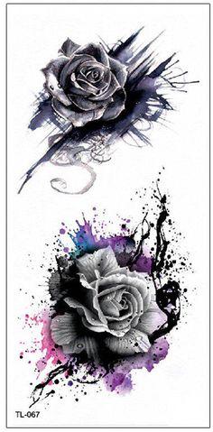 Cool Watercolor Splat Black Rose Temporary Tattoo Ideas Traditional Vintage Floral Flower Tat Ideas for Women - Aquarell Tattoo Rose, Aquarell Tattoo Schwarz, Trendy Tattoos, Small Tattoos, Cool Tattoos, Feminine Tattoos, Flor Tat, Tattoo Folie, Body Art Tattoos