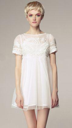 #SheInside White Short Sleeve High Waist Princess Embroidered Floral Dress $69.30