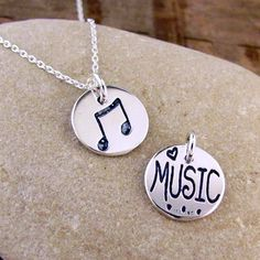 Music Note Necklace  Silver Music Jewelry  Love Music by HANNI, $16.00