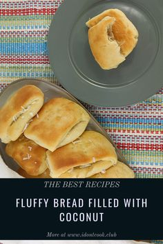 Try baking this sweet and fluffy bread filled with coconut. Coconut Sauce, Dough Ingredients, Danishes, Bread Cake, Instant Yeast, Pull Apart, Bread Rolls, Croissants, Bagels