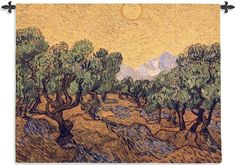 Tapestry Art, The Olive Trees. Tapestry Wall Art - Our famous Dutch Post-Impressionist Painter, Vincent Van Gogh (1853 - 1890), was released from the asylum to paint. The Olive Trees is one masterpi...