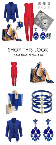 """Styled by Marijarich"" by marijarogovic ❤ liked on Polyvore featuring TFNC, Christian Louboutin, Elizabeth and James, LE3NO, Natasha Accessories and sleevelessjumpsuits"