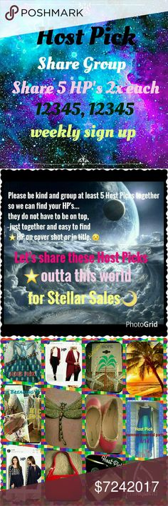 HPSG⭐ 7/24 Weekly SIGN up sheet CLOSES Mon 5pm EST Host Pick Share Group This share group is going to help us sell the beautiful host picks given to us by our fellow poshers.💜 You must have at least 5 Host Picks to join. You must be posh compliant.  We are sharing 5 HOSTpicks 2x each as 12345, 12345...This is a weekly sign up. So please make sure you can do all week. And sign out with date when finished🌴⛵2 DAYS OFF JUST DAYE IT PLEASE Thank you ladies  Robin Other