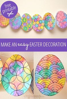 Make an Easy Easter Decoration - free printable egg to color and paint with your kiddos. Via Picklebum