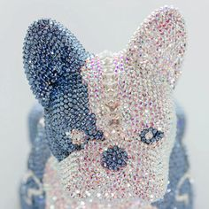 French Bruno by J. Edelweiss, Swarovski, French Bulldog, Pink, Butterfly, Glamour, Sculpture, Crystals, Luxury