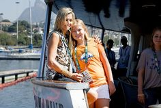 King Willem-Alexander and Queen Maxima of The Netherlands, with their daughters, Crown Princess Catharina-Amalia, Princess Alexia and Princess Ariana prior to the golden race of Dorian van Rysselberghe during the Olympic Games in Rio de Janeiro, Brazil, on August 14, 2016