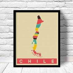 Chile map poster, modern pop art print. Country maps for home decor and Gifts.  DETAILS  Your map is: - An original hand drawn to digital design - Available in 6 easy to frame size options - Individually hand printed and packaged with care - Printed on heavyweight matte paper - Printed with high color inks - Carefully shipped in a sturdy kraft tube, see policies & shipping for details - 100% designed and printed in U.S.A. - Frame is not included.  *****************************************...