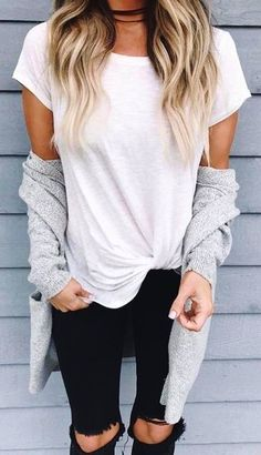 #Summer #Outfits / White T Shirt + Black Ripped Pants