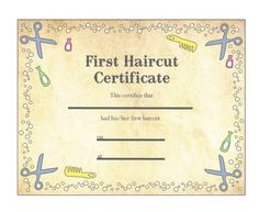 similar ideas first haircut certificate