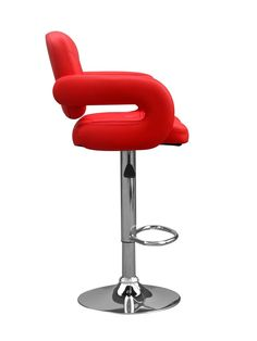 http://www.bonsoni.com/capalo-leather-match-red-bar-stool-pair-by-sherman  This unusual leather match funky bar chair has a retro inspired design with sumptuous padding on the seat - back and armrest. Chrome base with footrest and gas lift mechanism. Assembly required. Sold in boxes of two.   http://www.bonsoni.com/capalo-leather-match-red-bar-stool-pair-by-sherman