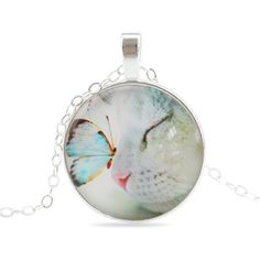 Glass Cabochon Cat and Butterfly Pendant Necklace Statement Necklace Silver Color Chain Jewelry
