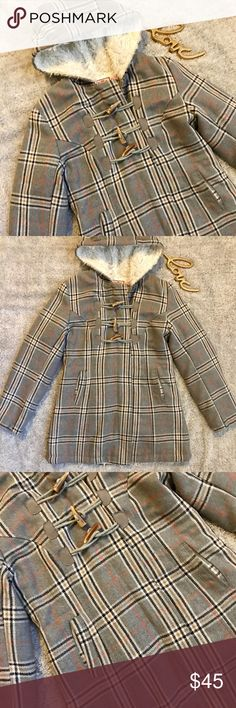 Juicy Couture Coat Sure it's hot now but fall and winter are coming!! Get ready now with this super warm fluffy coat. Comes in a fun plaid pattern. Coat is in great condition no stains or rips. Material used are listed in pictures. Juicy Couture Jackets & Coats
