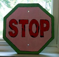 old wooden stop sign handpainted by BeansAndJeremy on Etsy, $35.00