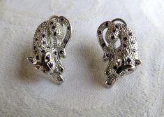 Sterling Leopard Earrings, Fire Garnet Amethyst Panther Earrings, Pierced French Clips, Cat Jewelry