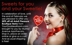Murray Avenue Apothecary is offering 20% off until the end of February on all our Adult Pleasure Boutique items from YourGoddessRoom.com!