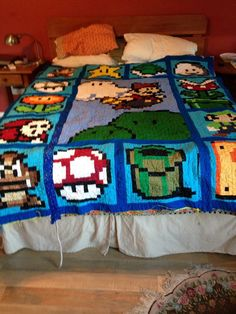 Mario pixelated quilt. Never again