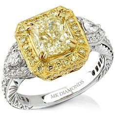18k White and Yellow Gold Asscher Cut Fancy Yellow Diamond Semi Mount Ring