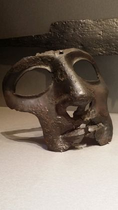 Roman cavalry helmet mask from ancient Cornacum (today's Sotin in Croatia); 2nd C AD. Zagreb Archaeological Museum
