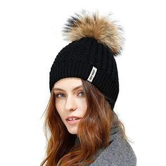 999b553bff0 JULY SHEEP Crochet Knit Fur Hat With Real Large Fur Pompom Beanie Hats  Winter Ski Cap Review