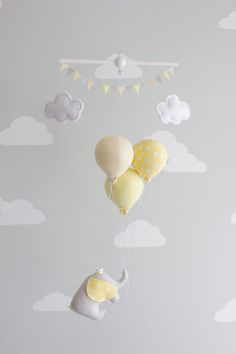 Yellow and Gray Elephant Balloon Baby Mobile, Nursery Decoration, Travel Theme, - List of the most beautiful baby products Baby Bedroom, Baby Boy Rooms, Baby Decor, Nursery Decor, Elephant Balloon, Baby Balloon, Travel Theme Nursery, Baby Crib Mobile, Baby Couture